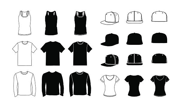 Clothes  template silhouette set Collection of clothes templates: icons, silhouette, glyph and outline style. Jerkin, common t-shirt, long sleeve t-shirt for men. Rap cap with a flat bill and a t-shirt for women. Vector eps10 illustration. tank top stock illustrations