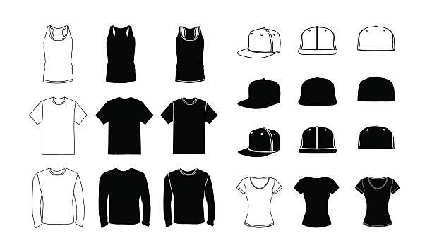 옷 형판 실루엣 설정 - 셔츠 stock illustrations