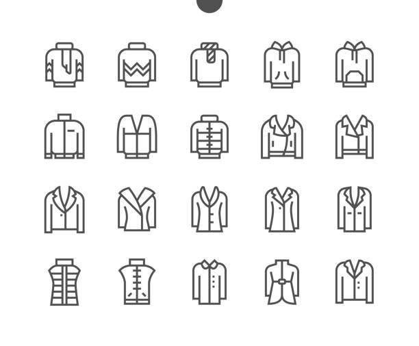 stockillustraties, clipart, cartoons en iconen met kleren ui pixel perfect goed vervaardigde vector dunne lijn pictogrammen 48x48 grid voor webafbeeldingen en apps. eenvoudige minimale pictogram deel 5-5 - men blazer