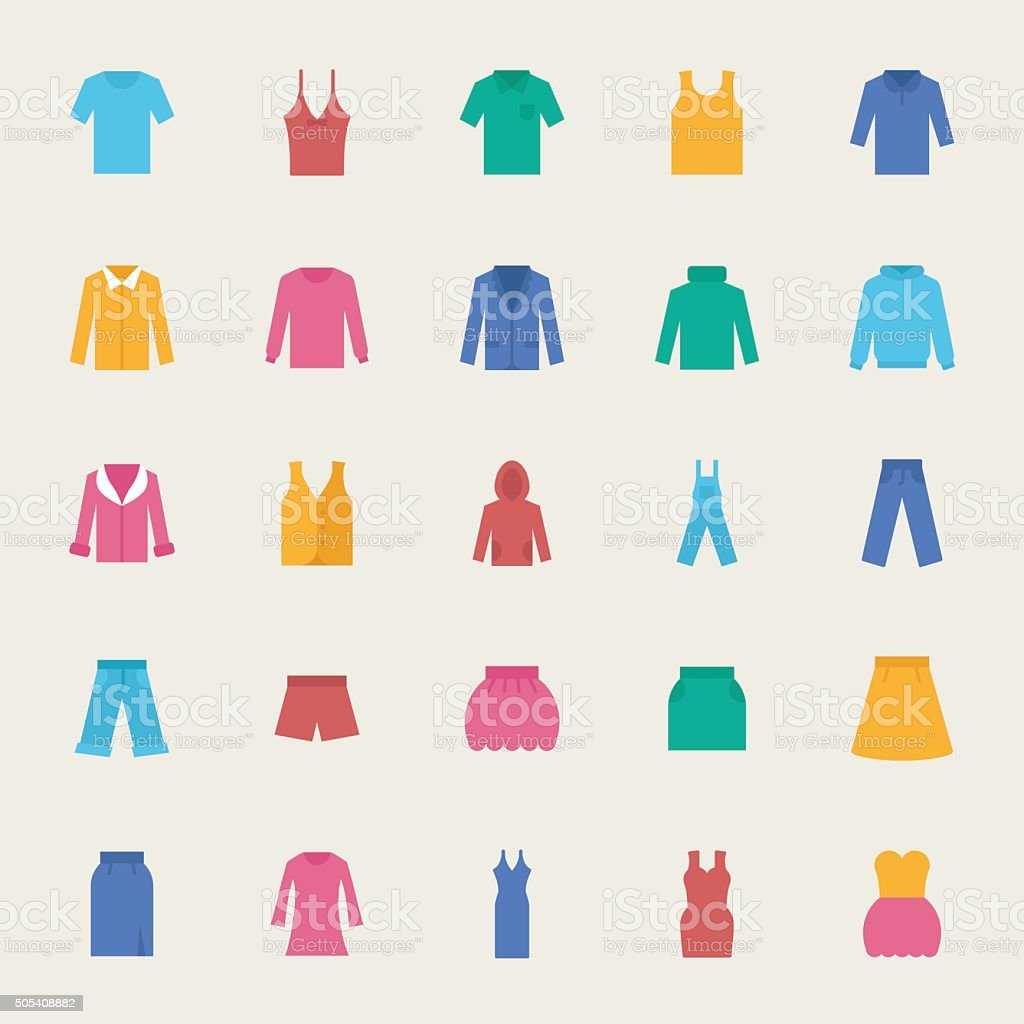 Clothes vector icons set, flat style vector art illustration