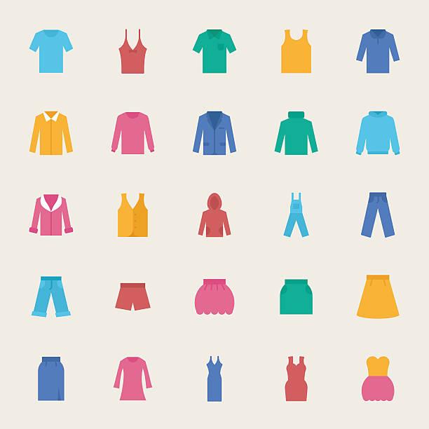 stockillustraties, clipart, cartoons en iconen met clothes vector icons set, flat style - men blazer