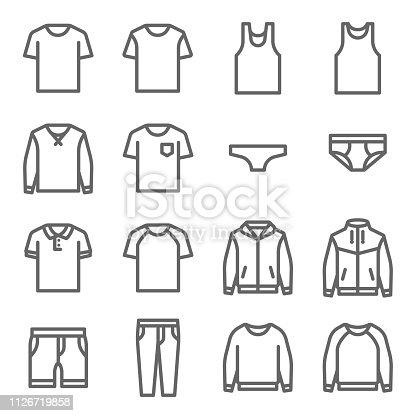 Ropa juego icono Vector. Contiene iconos como ropa interior, camiseta, abrigo, chaqueta, pantalones y más. Movimiento ampliado