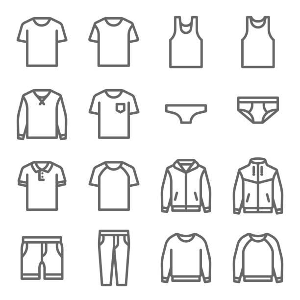 stockillustraties, clipart, cartoons en iconen met kleding vector lijn icon set. dergelijke pictogrammen als ondergoed, t-shirt, vacht, jas, broek en meer bevat. uitgebreide lijn - t shirt