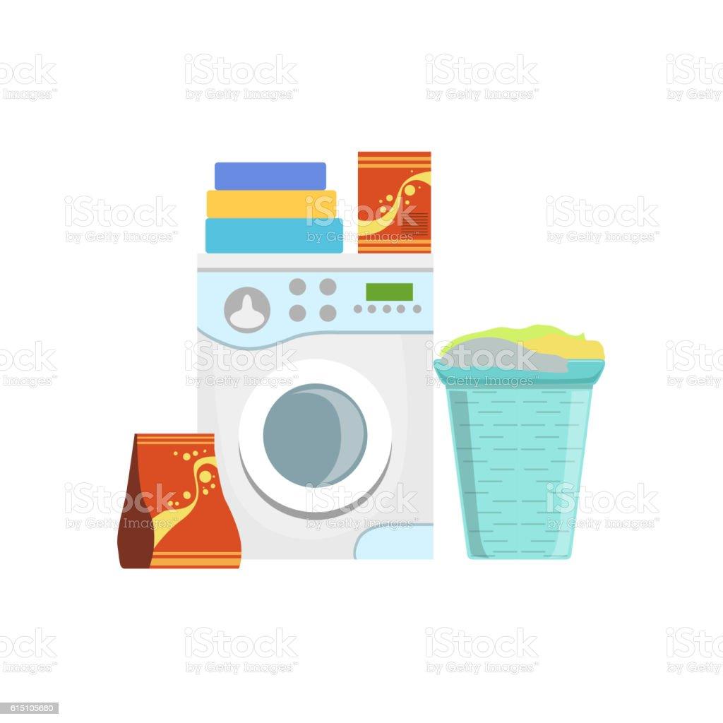 Clothes Washing Household Equipment Set vector art illustration