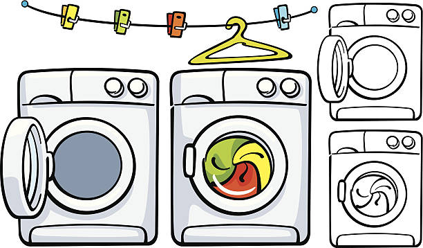 Clip Art Washing Machine ~ Royalty free open washing machine clip art vector images