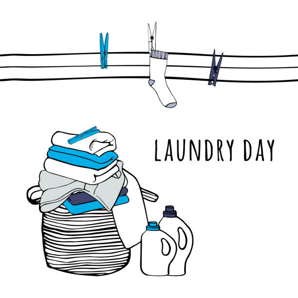 Clothesline with socks and clothespins. Folded sheets, towels and a detergent. Isolated symbols of laundry. Background for advertising, brochures, flyers. Hand drawn vector Illustration. Clothesline with socks and clothespins. Folded sheets, towels and a detergent. Isolated symbols of laundry. Background for advertising, brochures, flyers. Hand drawn vector Illustration. laundry basket stock illustrations