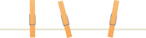 Clothespins on a washing line vector art illustration
