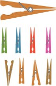 A set of clothespins isolated on white. Each pin on a seperate layer, easy to modify.