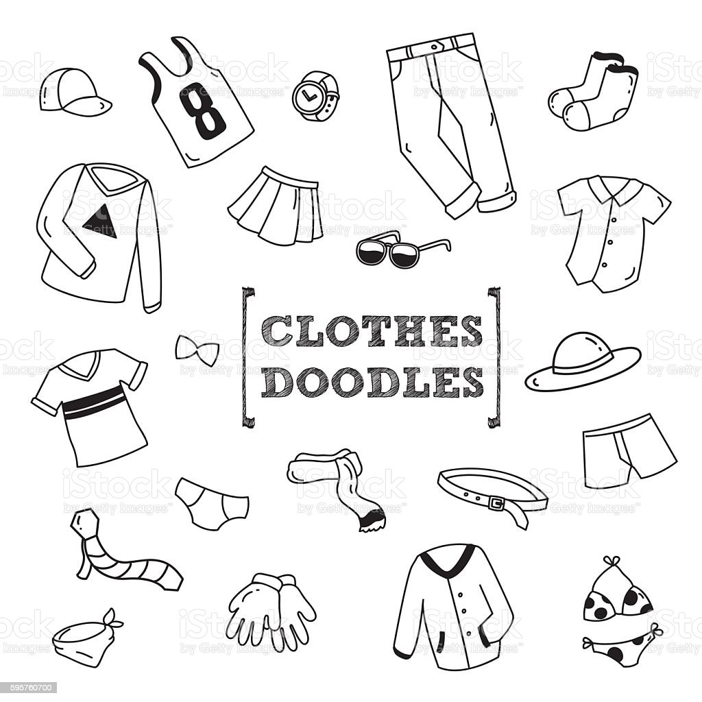 Clothes's Doodles vector art illustration
