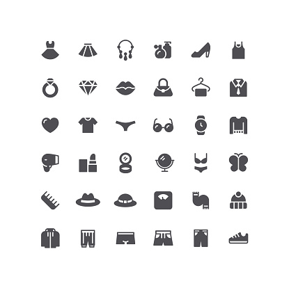 Clothing & Accessories Fashion Flat Icons
