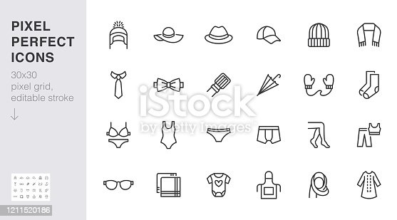 Clothing accessory line icon set. Bow tie, handkerchief, woman hat, sunglasses, umbrella, hijab minimal vector illustrations. Simple outline signs for fashion app. 30x30 Pixel Perfect. Editable Stroke