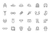 Clothing accessory line icon set. Bow tie, handkerchief, woman hat, sunglasses, umbrella, hijab minimal vector illustrations. Simple outline signs for fashion app. Pixel Perfect. Editable Stroke.