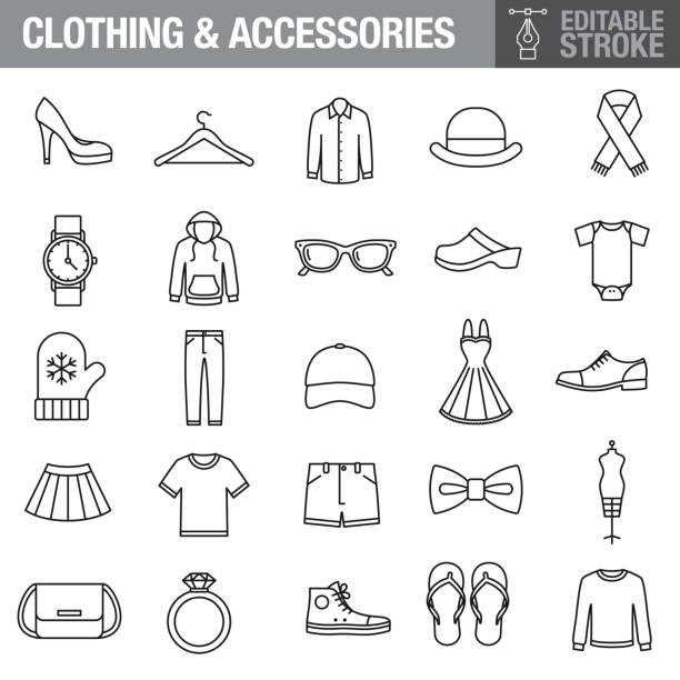 Clothing and Accessories Editable Stroke Icon Set A set of editable stroke thin line icons. File is built in the CMYK color space for optimal printing. The strokes are 2pt black and fully editable, so you can adjust the stroke weight as needed for your project. fashion stock illustrations