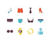 Clothing icons including socks, underwear, bras, jewelry