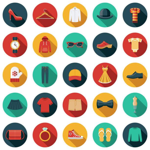 ilustrações de stock, clip art, desenhos animados e ícones de clothing and accessories icon set - vestuário