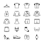 Clothing and Accessory Icons Line