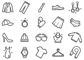 Clothing and Apparel Line Icons Set