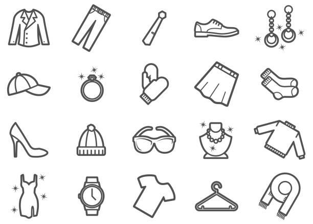 ilustrações, clipart, desenhos animados e ícones de ícones da linha da roupa e do fato ajustados - eventos de gala