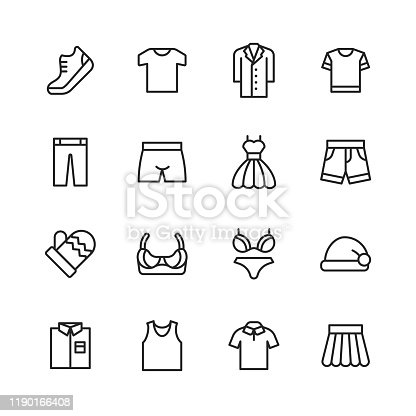 16 Clothing and Fashion Outline Icons.