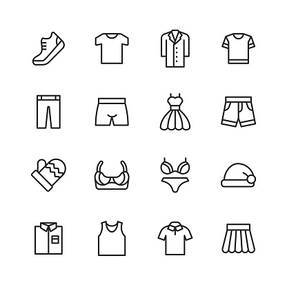 Clothing and Fashion Line Icons. Editable Stroke. Pixel Perfect. For Mobile and Web. Contains such icons as Clothes, Fashion, Jacket, T-Shirt, Coat, Shoe, Underwear, Bra, Skirt, Shirt, Dress.