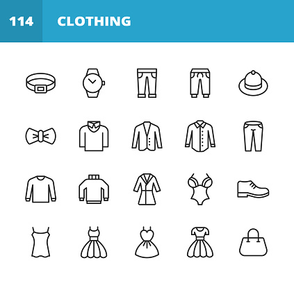 Clothing and Fashion Line Icons. Editable Stroke. Pixel Perfect. For Mobile and Web. Contains such icons as Clothing, Fashion, Jacket, Trousers, Jeans, Dress, Underwear, Clock, Belt, Turtleneck, Bow Tie, Purse, Nightdress, Hat, Sweater, Vest, Jacket.