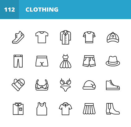Clothing and Fashion Line Icons. Editable Stroke. Pixel Perfect. For Mobile and Web. Contains such icons as Clothing, Fashion, Jacket, T-Shirt, Coat, Shoe, Underwear, Bra, Skirt, Shirt, Dress, High Heels Shoes, Polo Shirt, Hat, Wardrobe, Jeans, Trousers.