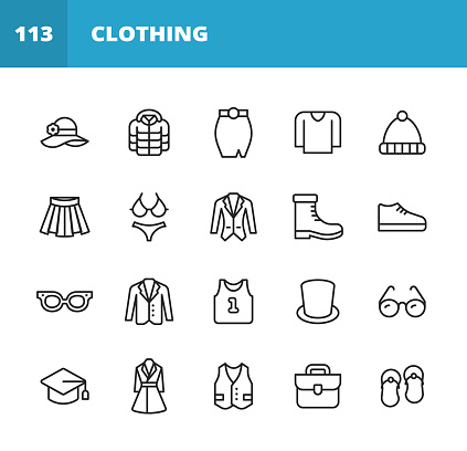 Clothing and Fashion Line Icons. Editable Stroke. Pixel Perfect. For Mobile and Web. Contains such icons as Clothing, Fashion, Jacket, Hat, Skirt, Sweater, Dress, Eyeglasses, Vest, Bra, Suit, Coat, Sports Shirt, Tuxedo, Winter Jacket, Wardrobe, Panties.