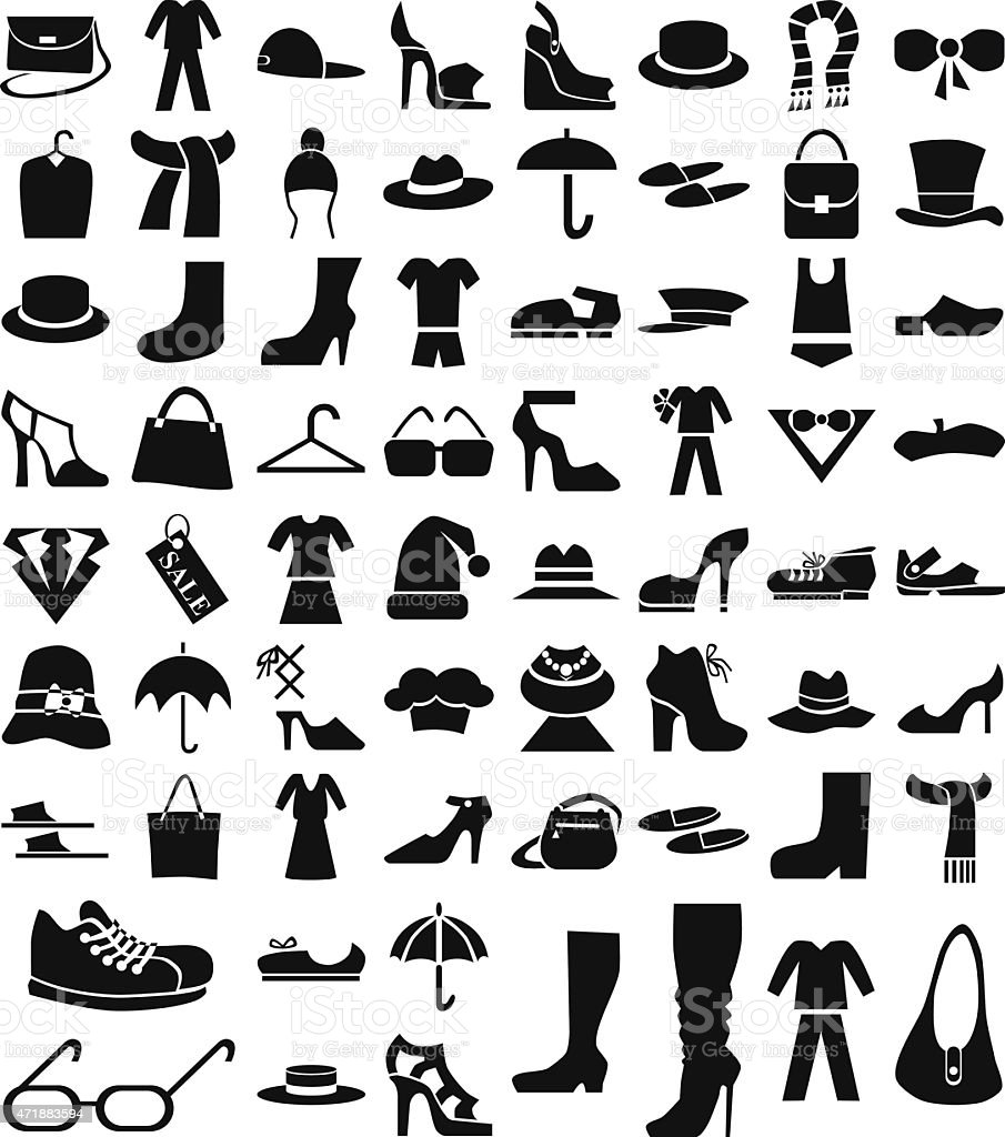 clothing and footwear icons on white vector art illustration