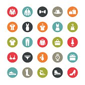 Clothing and Footwear related vector icons