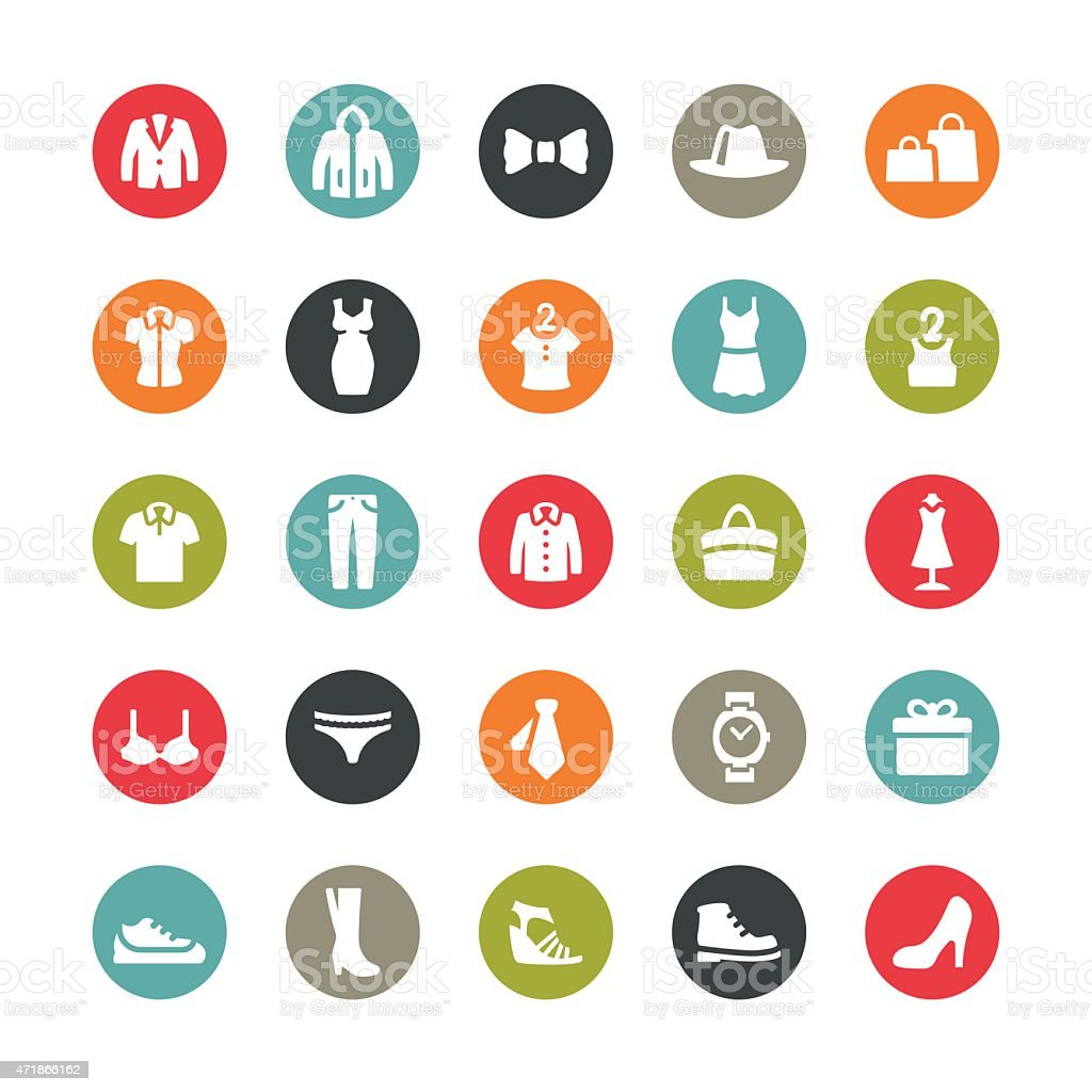 Clothing and Footwear related vector icons / Ringico series vector art illustration