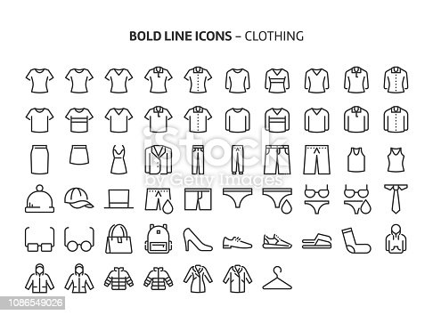 Clothing, bold line icons. The illustrations are a vector, editable stroke, 48x48 pixel perfect files. Crafted with precision and eye for quality.