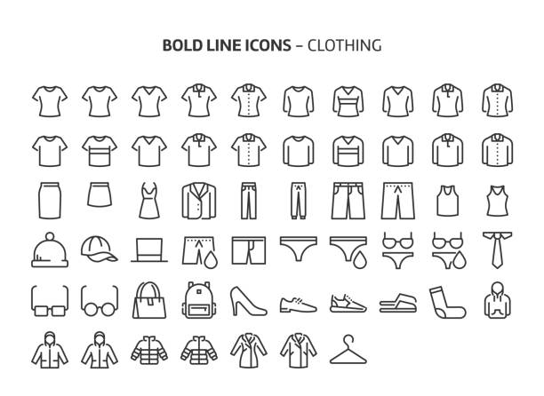 Clothing, bold line icons Clothing, bold line icons. The illustrations are a vector, editable stroke, 48x48 pixel perfect files. Crafted with precision and eye for quality. clothing stock illustrations