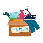 istock Clothing donation box 1223169039