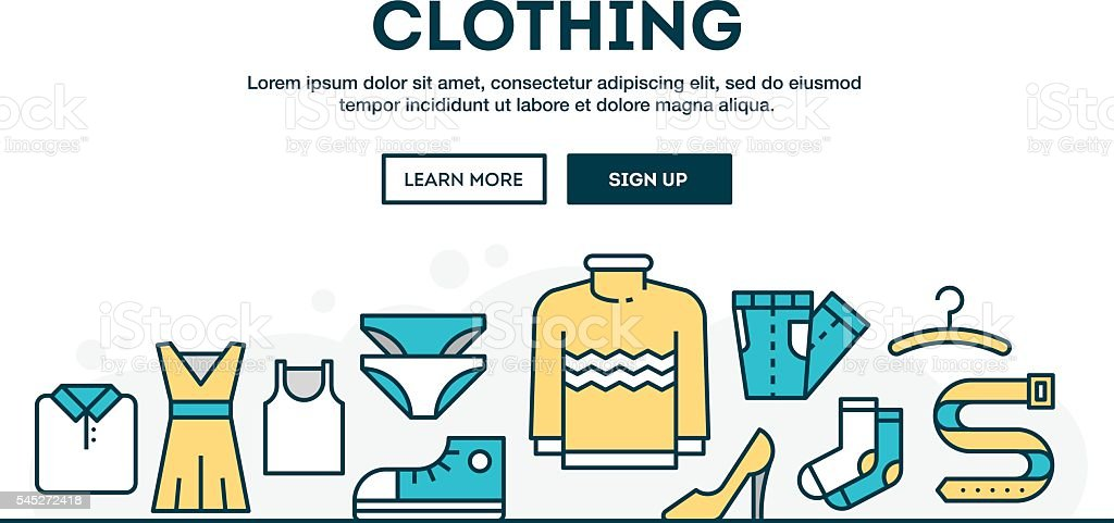 Clothing, fashion, boutique, colorful concept header, flat design thin line ベクターアートイラスト
