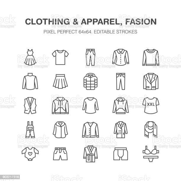 Clothing fasion flat line icons men women apparel dress down jacket vector id903217316?b=1&k=6&m=903217316&s=612x612&h=bhzb9zaq eous 42ouao2cbfr5hslnsvh6bwzixbyoa=