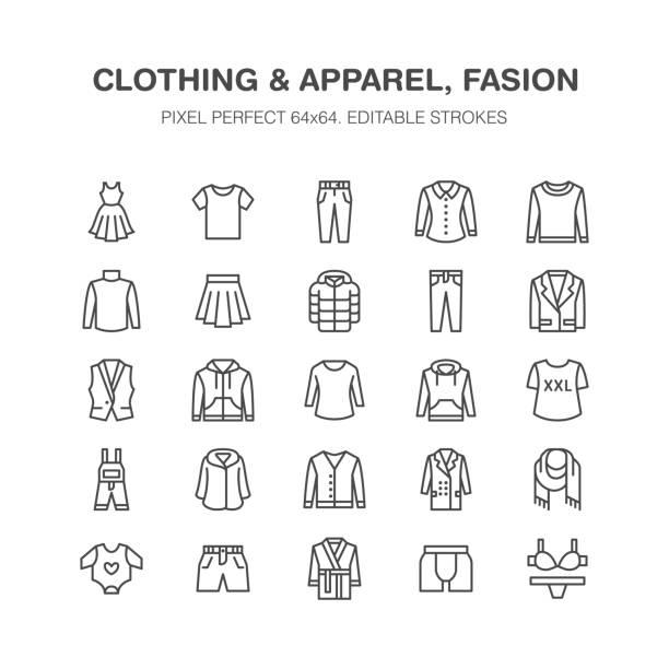 odzież, fasion płaskie ikony linii. mężczyźni, odzież damska - sukienka, kurtka puchowa, dżinsy, bielizna, bluza. cienkie znaki liniowe do sklepu z ubraniami i akcesoriami. pixel doskonały 64x64 - odzież stock illustrations