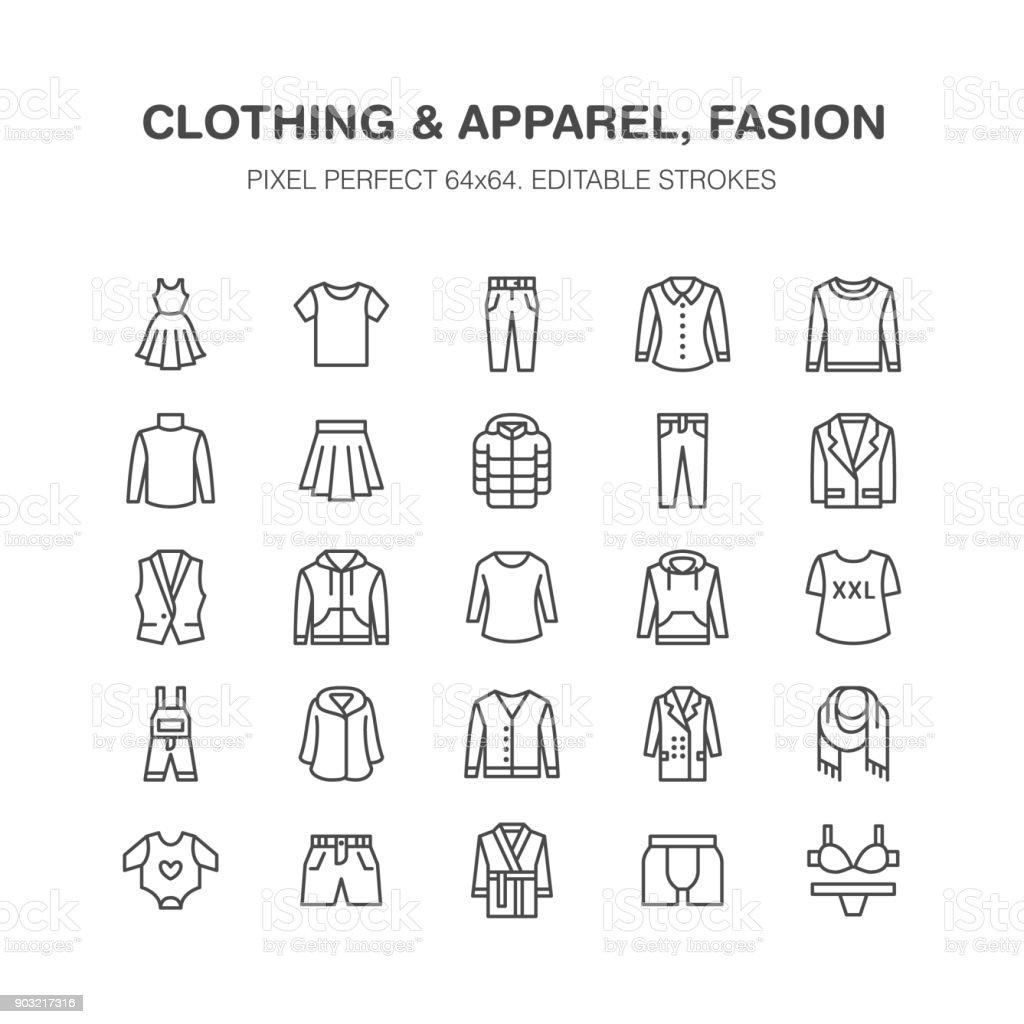 Clothing, fasion flat line icons. Men, women apparel - dress, down jacket, jeans, underwear, sweatshirt. Thin linear signs for clothes and accessories store. Pixel perfect 64x64 vector art illustration