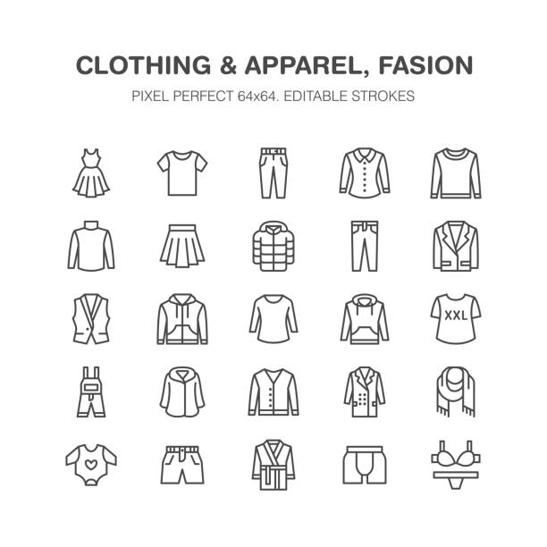 Clothing, fasion flat line icons. Men, women apparel - dress, down jacket, jeans, underwear, sweatshirt. Thin linear signs for clothes and accessories store. Pixel perfect 64x64 Clothing, fasion flat line icons. Mens, womens apparel - dress, down jacket, jeans, underwear, sweatshirt. Thin linear signs for clothes and accessories store. Pixel perfect 64x64. clothing stock illustrations