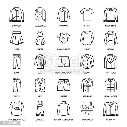 Clothing, fasion flat line icons. Mens, womens apparel - dress, suit jacket, jeans, underwear, sweatshirt, fur coat. Thin linear signs for clothes and accessories store.