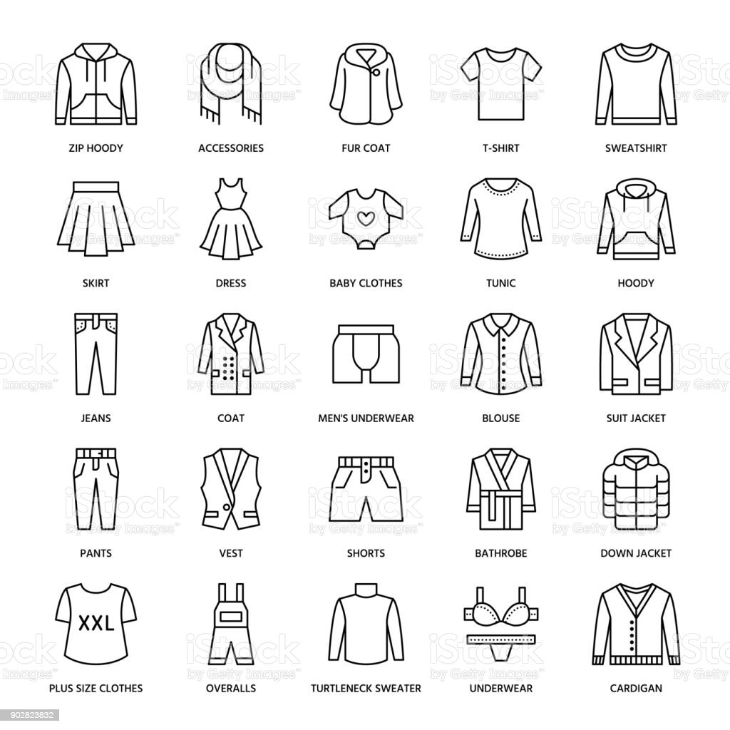 Clothing, fasion flat line icons. Mens, womens apparel - dress, suit jacket, jeans, underwear, sweatshirt, fur coat. Thin linear signs for clothes and accessories store vector art illustration