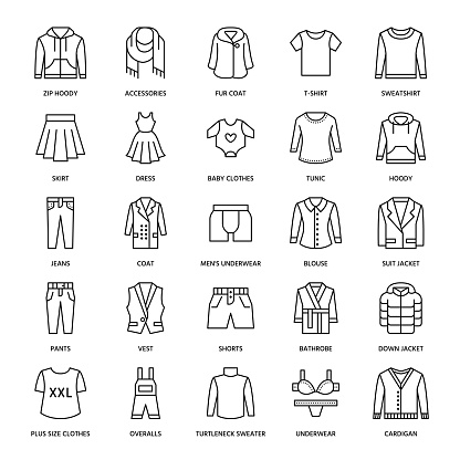 Clothing Fasion Flat Line Icons Mens Womens Apparel Dress Suit Jacket Jeans Underwear Sweatshirt Fur Coat Thin Linear Signs For Clothes And Accessories Store Stock Illustration - Download Image Now