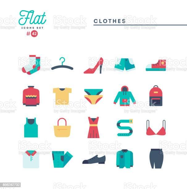 Clothing flat icons set vector illustration vector id856282732?b=1&k=6&m=856282732&s=612x612&h= e0wto5o7amr30f t0l zhizcnhloaabroey qz36e4=