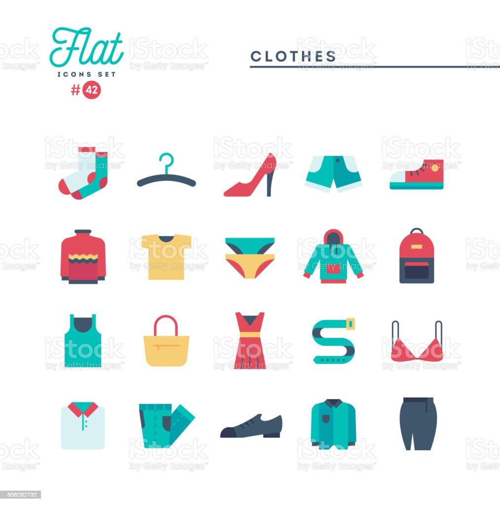 Kleidung, flache Icons Set, Vektor-illustration – Vektorgrafik
