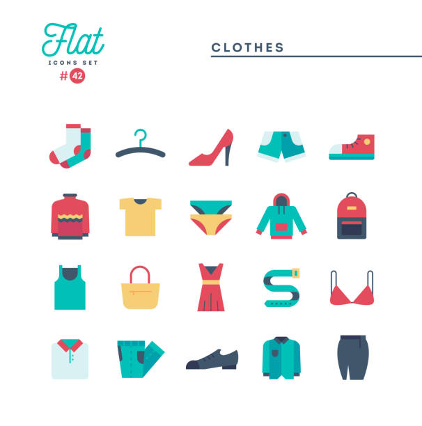 clothing, flat icons set, vector illustration - shoes fashion stock illustrations, clip art, cartoons, & icons