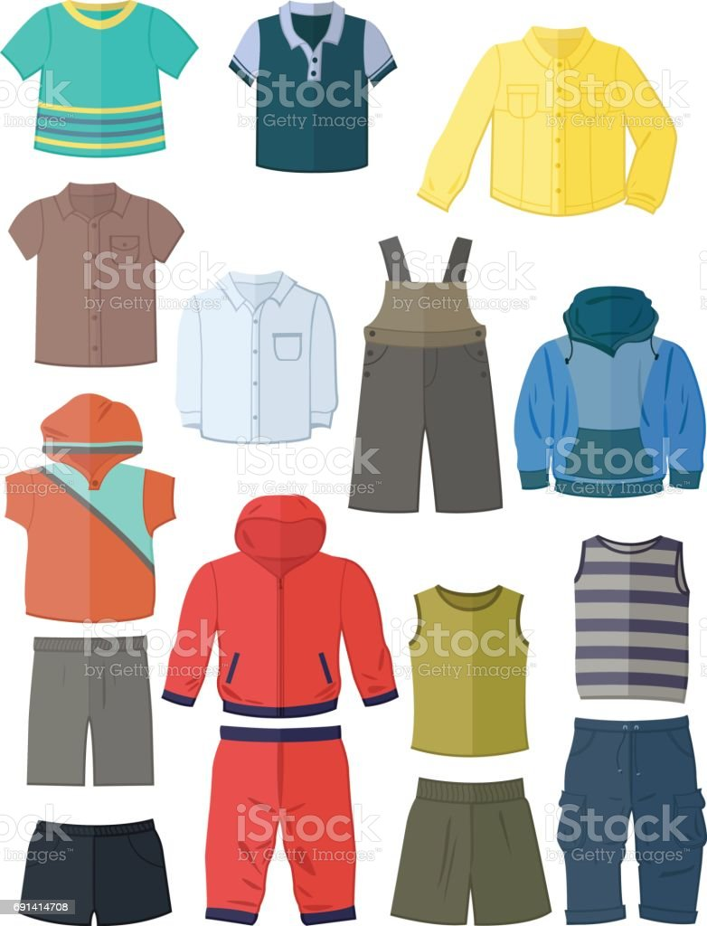 Clothing for little boys in flat design vector art illustration