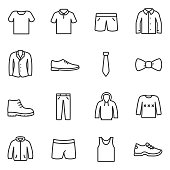 Clothing for men icons set. Collection of various clothes.
