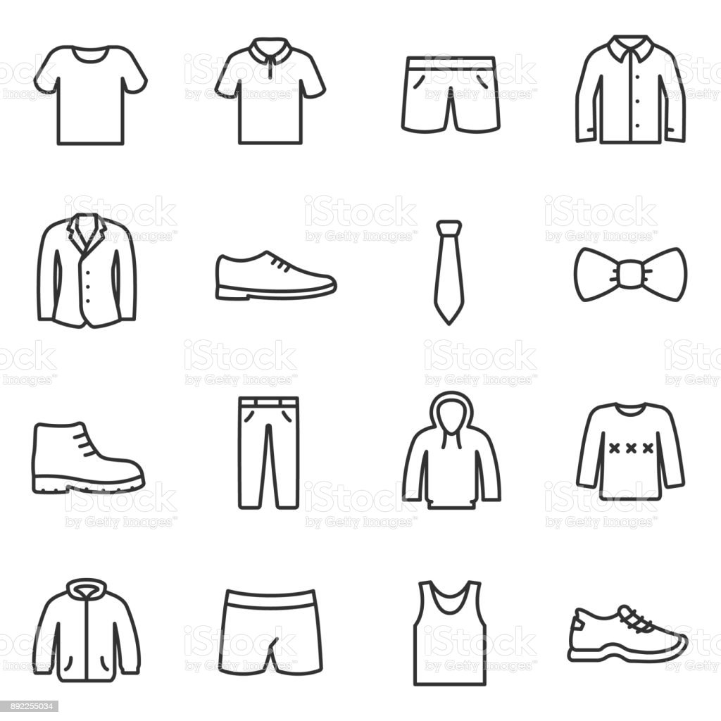 Clothing for men icons set. Collection of various clothes. Line with Editable stroke vector art illustration