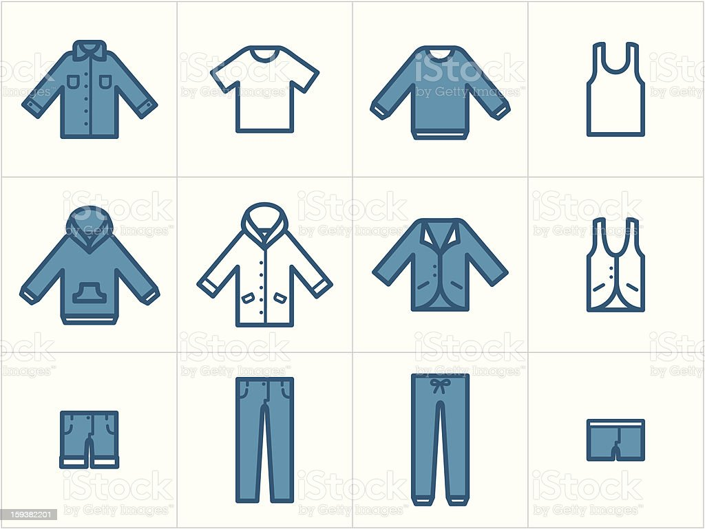 Clothing Icons Set 1 vector art illustration