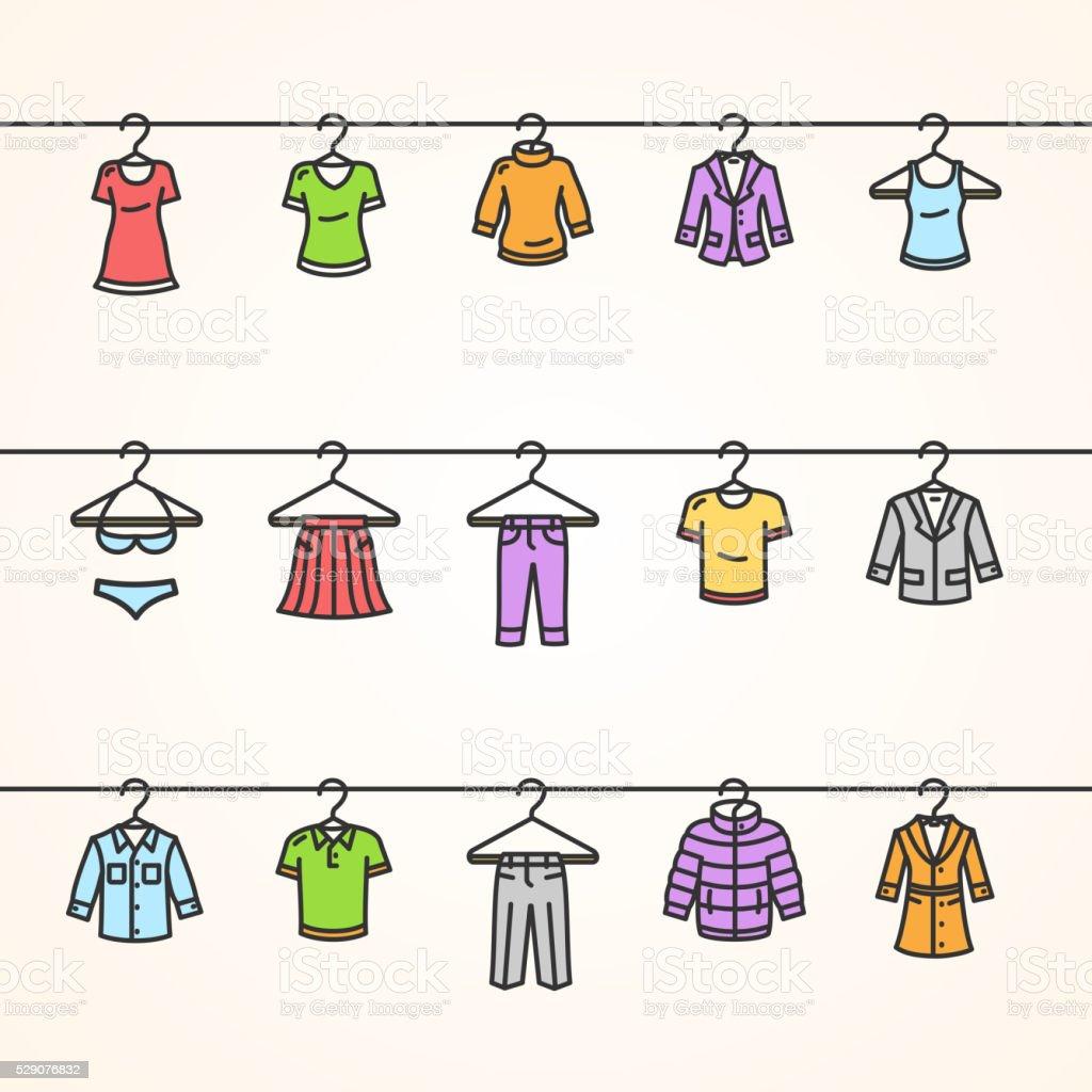 Conjunto de iconos de ropa en Suspensión. Vector de de - ilustración de arte vectorial