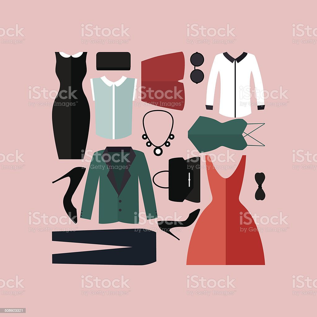 Clothing Icons Set Shopping Elements Flat Design Vector Stock Illustration Download Image Now Istock